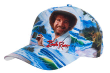 "Load image into Gallery viewer, Officially Licensed Bob Ross ""Mountain By The Sea"" Ball Cap - Available For Pre-Order Full Front With Bob Ross Signature In Red"