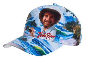 "Officially Licensed Bob Ross ""Mountain By The Sea"" Ball Cap - Available For Pre-Order Full Front With Bob Ross Signature In Red"