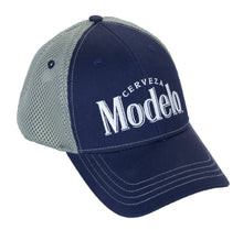 Load image into Gallery viewer, Mens Cerveza Modelo Mesh Back Trucker Hat Front With Logo