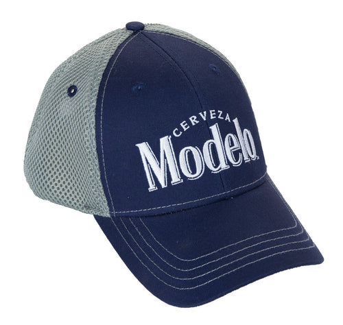 Mens Cerveza Modelo Mesh Back Trucker Hat Front With Logo