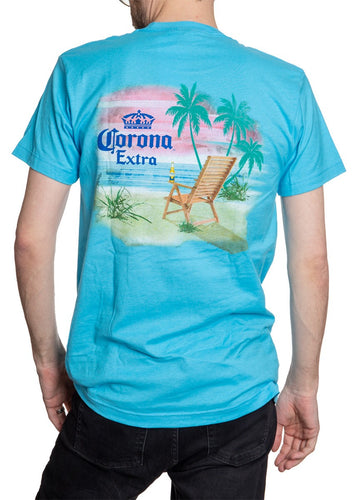 Men's Corona Extra Beachside T-Shirt- Aqua Full Back Print With Virbrant Colors Sunset