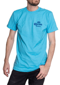 Men's Corona Extra Beachside T-Shirt- Aqua Front Corner Logo In Navy