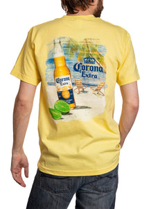 Men's Corona Extra Beachside T-Shirt- Banana Full Back Vibrant Colors WIth Bottle Lime and Logo