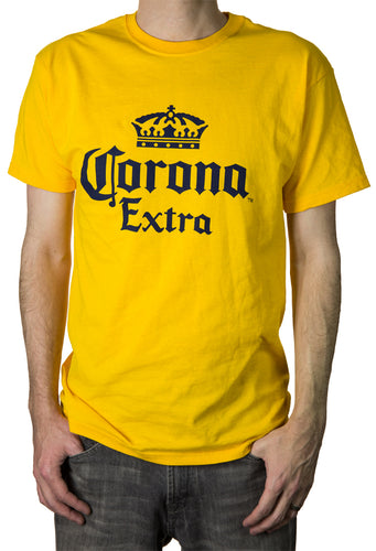 Mens Corona Extra Men's Crown Logo T-Shirt- Gold