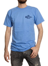 Load image into Gallery viewer, Corona Extra Beachside T-Shirt In Carolina Blue Front.
