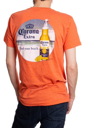 Men's Corona Extra Beachside T-Shirt- Heather Orange Full Back Print Find Your Beach
