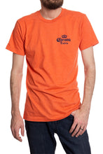 Load image into Gallery viewer, Men's Corona Extra Beachside T-Shirt- Heather Orange Front Corona Logo Small Top Corner In Navy