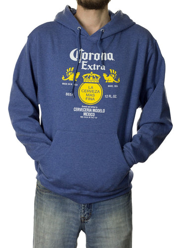 Mens Corona Extra Bottle Label Hoodie- Heather Blue