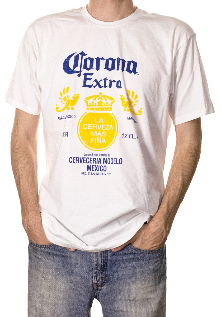 Men's  Corona Extra Bottle Label T-Shirt- Distressed Front Full Logo Man Wearing Shirt