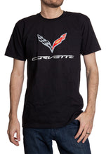 Load image into Gallery viewer, General Motors Corvette C7 'Flying V' Short Sleeve T-Shirt Front Full View Man Wearing Shirt With A Pair Of Jeans