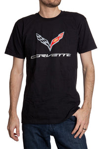 General Motors Corvette C7 'Flying V' Short Sleeve T-Shirt Front Full View Man Wearing Shirt With A Pair Of Jeans