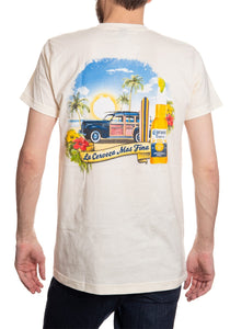 Men's Corona Extra Beachside T-Shirt- Natural Wood Wagon Colorful Back Logo Shirt