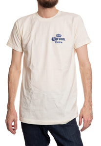 Men's Corona Extra Beachside T-Shirt- Natural Wood Wagon Front Logo Crest Navy