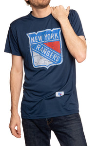 Distressed Logo T-Shirt in Blue New York Rangers.