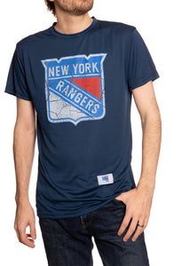 New York Rangers Distressed Logo Short Sleeve Shirt in Blue, Front View.
