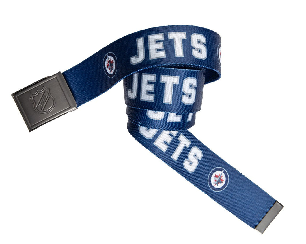 NHL Mens Woven Adjustable Team Logo Belt- Winnipeg Jets Swatch