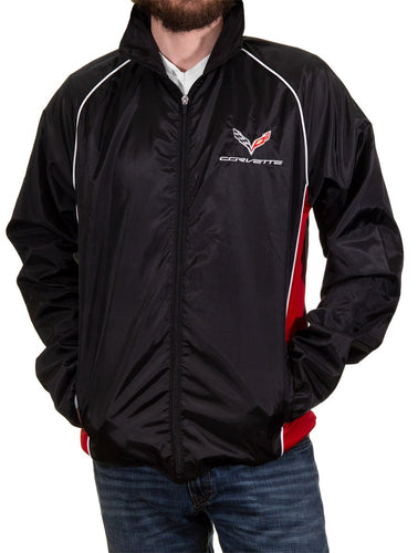 Chevrolet Corvette Lightweight Zip-Up Jacket, Front View.