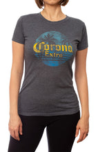 Load image into Gallery viewer, Ladies Corona Extra T-Shirt- Charcoal Front Distressed Logo