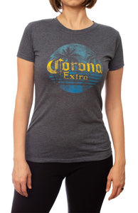 Ladies Corona Extra T-Shirt- Charcoal Front Distressed Logo