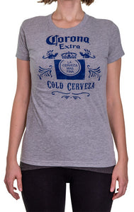Ladies Corona Extra T-Shirt- Oxford Front Image With Blue Writing