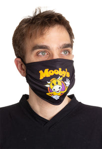 Mooby's Face Mask, Black Background, Modeled. Jay and Silent Bob Face Mask.