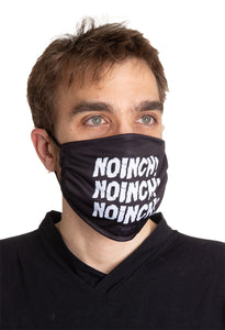 Noinch! Face Mask. Jay and Silent Bob Black Face Mask. Modeled.