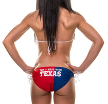 "Load image into Gallery viewer, Ladies Texas Lone Star State Flag Bikini Woman Wearing Bikini Back View ""Don't Mess With Texas"""