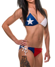 Load image into Gallery viewer, Ladies Texas Lone Star State Flag Bikini Woman Wearing Bikini Side View