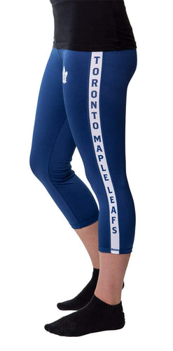 NHL Women's Athletic Capri Workout Leggings- Toronto Maple Leafs Side Leg Logo