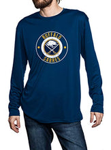 Load image into Gallery viewer, Buffalo Sabres Loose Fitting Long Sleeve Rashguard in Navy Blue. Distressed Logo in Middle of the Chest.