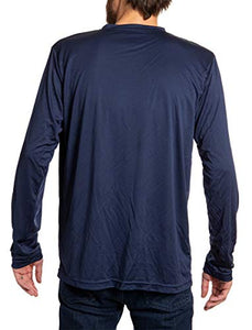New York Islanders loose fit long sleeve rashguard in blue, back view.