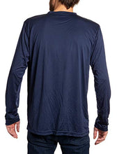 Load image into Gallery viewer, Montreal Canadiens loose fit long sleeve rashguard in blue, back view.