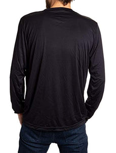 New Jersey Devils loose fit long sleeve rashguard in black, back view.