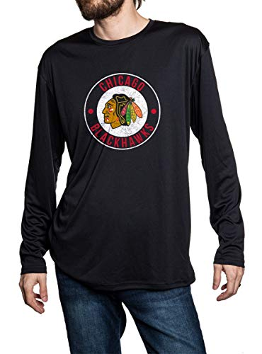 Chicago Blackhawks loose fitting black long sleeve rashguard. Distressed logo in middle of chest.