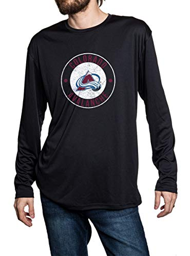 Colorado Avalanche loose fit long sleeve rashguard in black. Distressed logo place in middle of the chest.