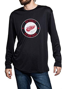 Detroit Red Wings loose fit long sleeve rashguard in black. Distressed logo in middle of the chest.