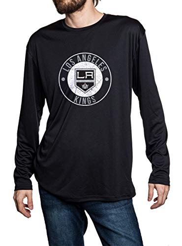 Los Angeles Kings Loose Fitting Long Sleeve Rashguard in Black. Distressed Logo in Middle of the Chest.
