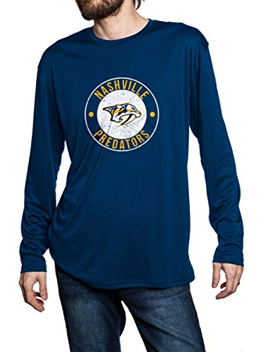 Nashville Predators lose fit long sleeve rashguard in blue, front view. Distressed logo in middle of chest.