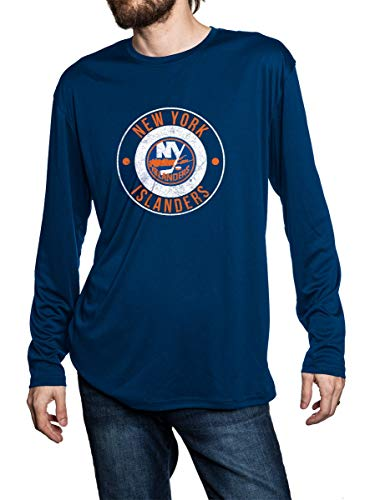 New York Islanders loose fit long sleeve rashguard in blue, front view. Distressed logo in middle of the chest.