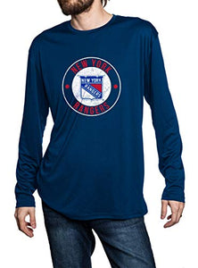 New York Rangers loose fit long sleeve rashguard in blue, front view. Distressed logo in middle of the chest.
