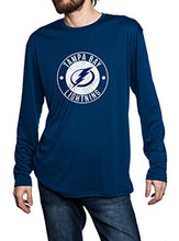 Load image into Gallery viewer, Tampa Bay Lightning loose fit long sleeve rashguard in blue, front view. Distressed Logo in middle of the chest.