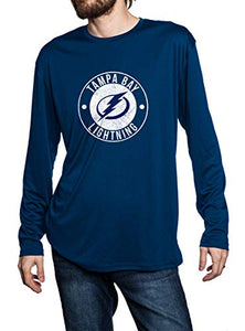 Tampa Bay Lightning loose fit long sleeve rashguard in blue, front view. Distressed Logo in middle of the chest.
