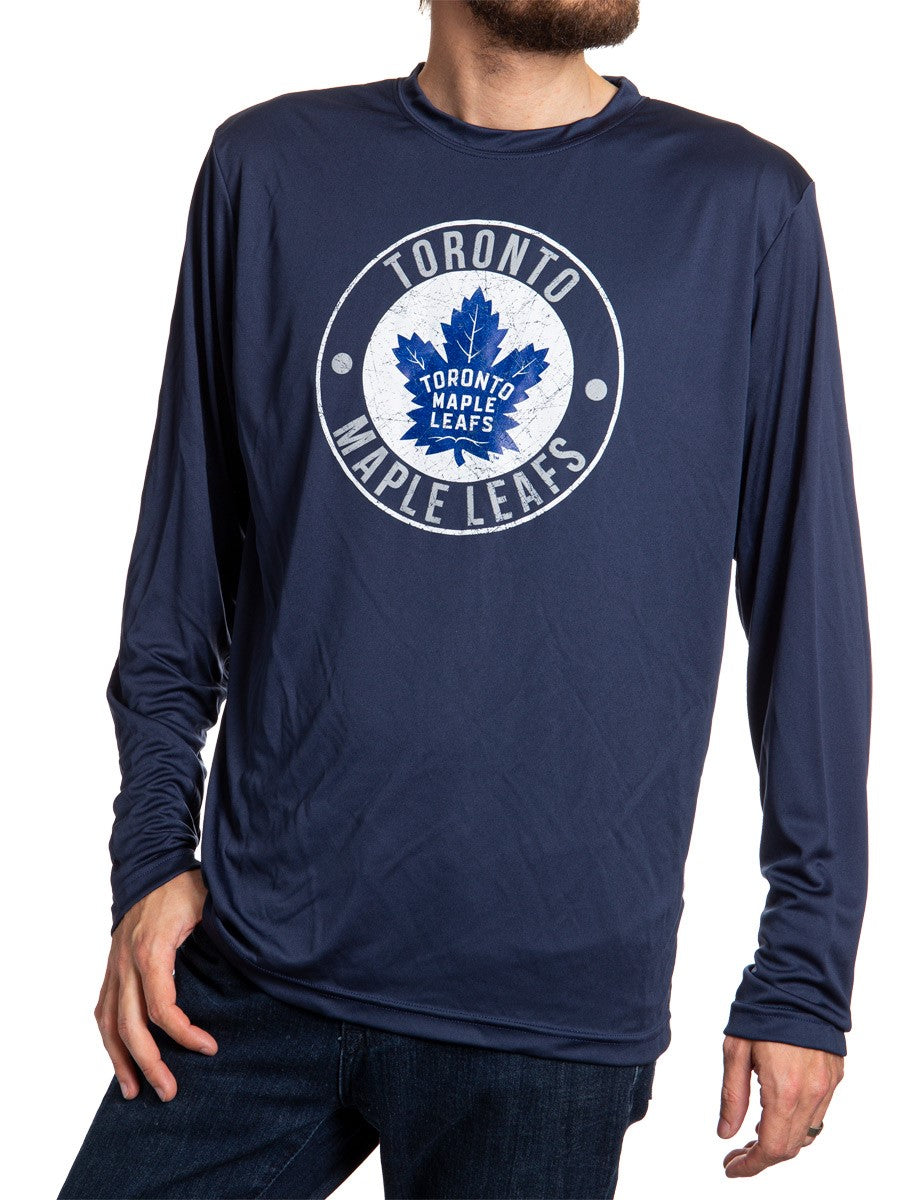 NHL Mens Loose Fit Performance Rashguard Wicking Long Sleeve Shirt - Toronto Maple Leafs