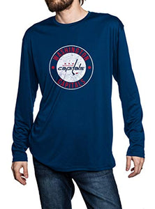 Washington Capitals loose fit performance long sleeve rashguard in navy, front view. Distressed Logo in middle of the chest.