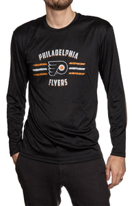 Men's Officially Licensed NHL Distressed Lines Long Sleeve Performance Rashguard Wicking Shirt- Philadelphia Flyers Man Wearing Long Sleeve Shirt With Hand In Pocket