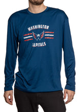 Load image into Gallery viewer, Men's Officially Licensed NHL Distressed Lines Long Sleeve Performance Rashguard Wicking Shirt- Washington Capitals Man Wearing Shirt Full Front View