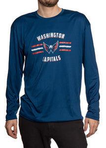 Men's Officially Licensed NHL Distressed Lines Long Sleeve Performance Rashguard Wicking Shirt- Washington Capitals Man Wearing Shirt Full Front View