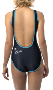 Anaheim Ducks One Piece Swimsuit for Women, Back View.