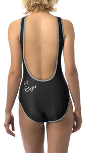 Los Angeles Kings One Piece Swimsuit for Women, Back View. Black and White Design.