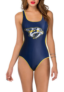 Nashville Predators One Piece Swimsuit for Women. Blue and Gold Design. Logo in Middle of Chest, Front View.